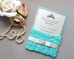 SELENA- This customizable invitation is perfect for a glamorous quinceanera, sweet sixteen or special event. This listing features Pearlescent