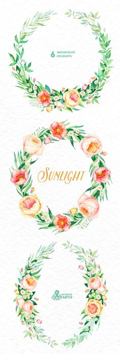 Sunlight: 3 Watercolor Wreaths frames popies by OctopusArtis