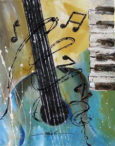 Orginal art absrtact painting JAZZ guitar piano music notes -by Khanh Ha