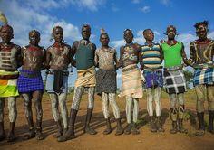 Bashada Tribe Warriors With Body Paintings, Dimeka, Omo Valley, Ethiopia