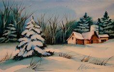 """Barn Series-Winter"" - Original Fine Art for Sale - © Kathy Los-Rathburn"