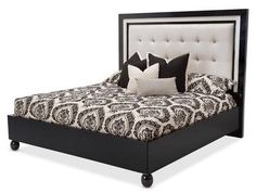 Queen Black Ice Finish Bed Frame with Headboard Platform Slats