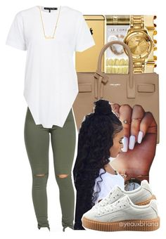 """""""3/7/2016"""" by yeauxbriana ❤ liked on Polyvore featuring Yves Saint Laurent, Puma and Sydney Evan"""