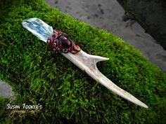 Magic Crystal Wand Deer Antler Talisman Arkansas by SpinningCastle