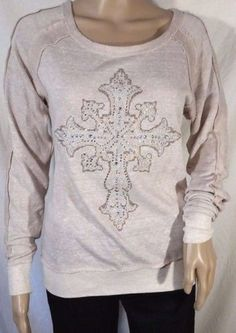 Miss Me Heather Beige Embellished Cross Long Sleeve Sweater - Small