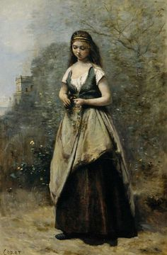 Camille Corot, Young woman weaving a wreath of flowers (1870)  on ArtStack #camille-corot #art