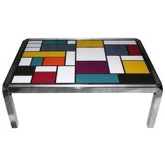 1970s Italian Mondrian Inspired Glass Coffee Table | From a unique collection of antique and modern coffee and cocktail tables at http://www.1stdibs.com/furniture/tables/coffee-tables-cocktail-tables/