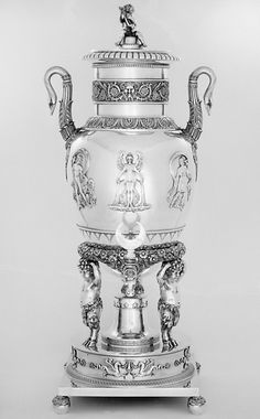 Hot water urn,part of a service made of silver and mother of pearl, by Marc Jacquart, French, date 1809-1819.jpg