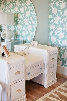 painted vintage waterfall dressing table dresser: Dream Home Tour - Day Four