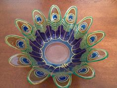 Painted Peacock Feathers on a glass bowl by SparkysGlassArt