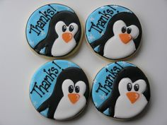 Some large Cookie Favors made for my daughter's birthday party. The image is modified from an invitation I found while searching online for Penguin pictures. They seemed to take forever to make! Thank You Cookies, Cute Cookies, Royal Icing Cookies, Sugar Cookies, Penguin Birthday, Penguin Baby, My Daughter Birthday, Cookie Favors, Birthday Cookies