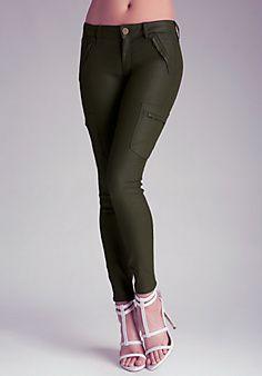 Coated Cargo Skinny Pants