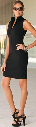Split Neck Ponte Dress...I'll be looking for a pattern to modify to achieve this!