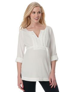 Convertible Sleeve Necklace Trim Maternity Blouse