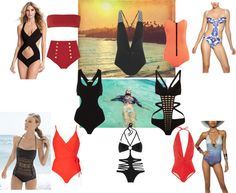 """""""High-Fashion Bathing Suits"""" by damselmel ❤ liked on Polyvore"""