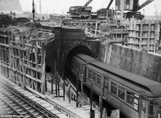 Busy: Six underground railway tunnels run under the Earl's Court Exhibition building which is pictured under construction near Earl's Court Station in 1936.