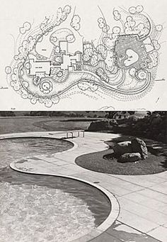 """Professor Marc Treib has described one of designer Thomas Church's most famous works - his 1948 garden at the Donnell residence in rural Sonoma County (design drawing at top, pool detail at bottom) - as """"a perfect contemporary world for indoor-outdoor living, arcadia achieved."""""""