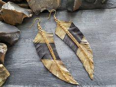 Leather feather earrings. Boho leather earrings. by VelmaJewelry