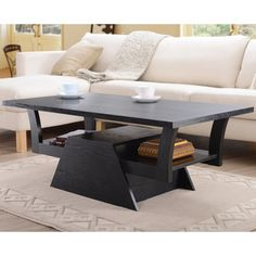 Furniture of America Contemporary Black Teeter-Totter Coffee Table 151