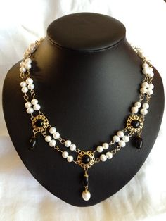 Renaissance Necklace with Pearls and Onyx by Pimp Your Garb at Etsy