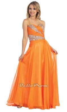 Orange Chiffon & Beaded Strapless Prom Dress IDNI2503