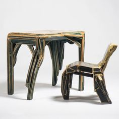 These incised and painted wood chair and desk were handmade by Argentinian artist Mariano Cornejo in 2003 and Designer furniture at Casati Gallery Furniture Design, Chair, Modern Furniture, Furniture, Wood Chair, Contemporary, Contemporary Desk, Painted Wood Chairs, Contemporary Furniture