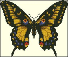 Golden Light Designs: Free Cross Stitch Chart - Yellow Butterfly