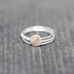 Sterling Stacking Rings with Brass Circle  by TheRubbishRevival