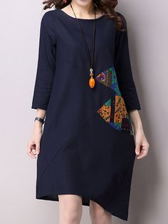 Vintage Women Long Sleeve O-neck Patchwork Irregular Dress