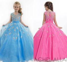 Blue Rachel Allan Girls Pageant Dresses Sheer Crew Neck Tulle Rhinestone Crystal…