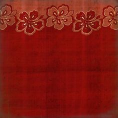 Scrapbook Customs - United States Collection - Hawaii - 12 x 12 Paper - Hibiscus Border - Red at Scrapbook.com