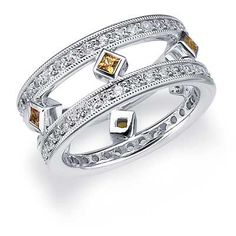 Square Citrine Eternity Ring 1.14 CTTW - White Gold | Eternity Wedding Bands