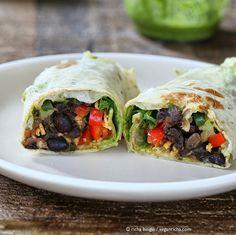 Smoky Black Bean Wraps with Parsley Chimichurri, Spinach. Vegan Recipe - Vegan Richa