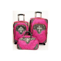 luggage bling | Pink Cross Bling Western Luggage