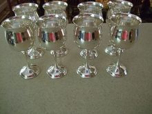 "Set Of Eight 6 3/8"" Silver Plated Goblets ""Chateau"" By Kirk. These measure 6 3/8"" tall . I have another set of larger ones that complement these. Perfect for wine and water. Very reasonably priced(both sets)"