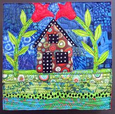 house quilt by Jamie Fingal for Art Box CSA House Quilt Patterns, House Quilt Block, House Quilts, Quilt Block Patterns, Applique Patterns, Scrap Fabric Projects, Quilting Projects, Small Quilts, Mini Quilts