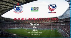 Watch Rugby World Cup 2015 Pool B Match Samoa vs United States of America Live From Sunday 20th September 2015, Time :- 12:00 local, 11:00 GMT at Community Stadium, Brighton, England. Watch Live Now : >  http://www.watchxrugbyonline.com/Article/3116/Samoa-Vs-Usa-Rugby-Wc-2015-Online-/