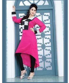 9008 AYESHA PEPPY PINK COLOR DESIGNER COTTON LONG KURTI CFAK9008 - Click on image to buy the Product from Stylishbazaar.
