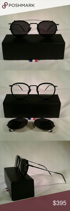 Thom Browne TB-710 optical with clip on sunglasses Frame: black Lens: UV Protected Lenses and Anti-Reflective Lens Coating Measurements: 46-24-141 mm Material: Handcrafted Acetate Frame Origin: Manufactured in Japan Thom Browne Accessories Sunglasses