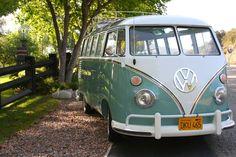 1962 VW 23 Window Microbus. Wood slat roof rack.
