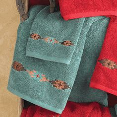 Navajo Turquoise Towel Set pcs) - Plush, turquoise cotton towels are embroidered with Navajo medallions on the Navajo Turquoise Towel Set to add western luxury to your bath. Three piece set includes bath towel x hand towel x and wash cloth x ~