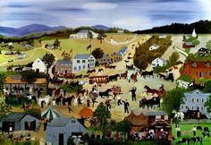 Country Fair, 1950 by Anna Mary Robertson Moses (Grandma Moses) - oil on canvas. Private collection.