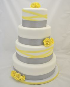 Grey and Yellow Ribbon Wedding Cake