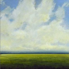 Original Oil Painting CUSTOM Modern Abstract Sky Cloud Field LANDSCAPE Art by J…