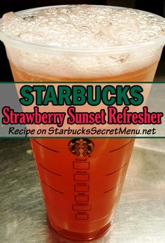 Starbucks Strawberry Sunset Refresher. A mix of strawberry, orange mango, and peach make this fruity beverage fresh, fun and full of flavor!