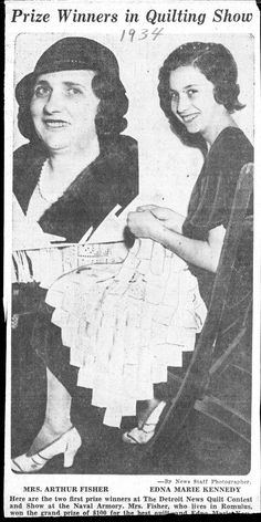 Detroit News, Prize Winners in Quilting Show, November 20, 1933