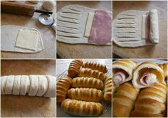 DIY Baked Buns Filled With Ham And Cheese - Find Fun Art Projects to Do at Home and Arts and Crafts Ideas neat idea for finger food appetizers Think Food, Love Food, Cheese Recipes, Cooking Recipes, Bread Recipes, Bread Shaping, Bread Appetizers, How To Make Sandwich, Snacks Für Party