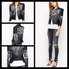HOST PICKBCBG MAXAZRIA FAUX LEATHER JACKET ✔️ ✔️Brand New BCBG MAXAZRIA faux leather jacket in crackle print. I have two of them the same size. I bought them for my daughters but unfortunately they are too small. The model in the picture usually wears small size    Polyurethane; backing: viscose; contrast: rayon/nylon/spandex; lining: cotton/nylon/spandex Hand wash Imported Stand collar with snap closure, long sleeves, asymmetric zip front closure Quilted shoulders and back hem, zip pockets…