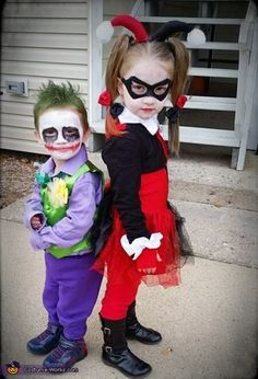 Kirsten: My daughter dressed up as Harley Quinn and my son dressed up as the Joker. Jocelynn is 4, Jonah is 2.
