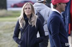 Paulina Gretzky watches the morning foursomes matches at the Presidents Cup on September 30, 2017 at Liberty National Golf Club in Jersey…